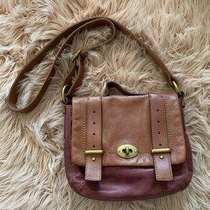 Fossil Crossbody Leather Bag Maroon / Brown